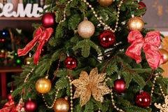舒适家庭内部,与圣诞树和新年装饰 免版税图库摄影