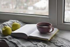 舒适家庭静物画:杯子热的咖啡、绿色苹果和被打开的书与温暖的格子花呢披肩在窗台反对雪 免版税库存照片