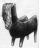 舒适扶手椅子剪影 免版税库存照片