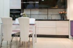 舒适现代厨房内部 免版税库存照片