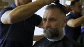 舒适理发店,参与专家美发师理发人年迈 在客户的椅子的一个可敬的商人 影视素材