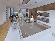 舒适的厨房在一个私有房子里 免版税库存图片