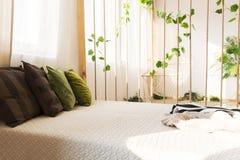 舒适的双人床和枕头 库存照片