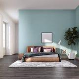舒适的床室室内设计 免版税库存照片
