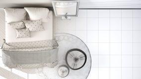 舒适的现代卧室未完成的项目有木镶花地板、地毯有蒲团的和床的与毯子和枕头, 免版税库存图片