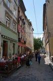 舒适的街道在利沃夫州 库存照片