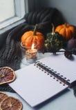 舒适秋天背景、笔记本、装饰南瓜、干桔子、蜡烛、坚果、桂香和秋叶 免版税图库摄影