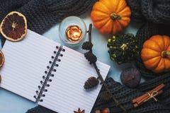 舒适秋天背景、笔记本、装饰南瓜、干桔子、蜡烛、坚果、桂香和秋叶 免版税库存照片