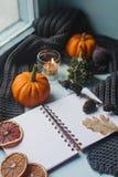 舒适秋天背景、笔记本、装饰南瓜、干桔子、蜡烛、坚果、桂香和秋叶 免版税库存图片