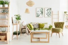 舒适,绿色客厅 免版税库存图片