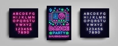 舞会海报在霓虹样式的设计模板 夜党DJ霓虹灯广告,轻的横幅,飞行物夜生活广告 皇族释放例证