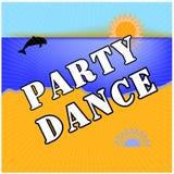 舞会 太阳,海,海滩 名片,飞行物,小册子 也corel凹道例证向量 EPS10 库存照片