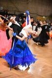 舞厅舞夫妇,跳舞在竞争 库存照片