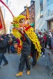 舞狮在唐人街波士顿,马萨诸塞,美国 库存照片