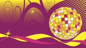 舞蹈俱乐部与迪斯科球的名片 库存图片