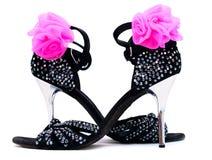 黑舞蹈凉鞋高跟鞋 库存照片