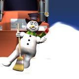 舞蹈前个雪人 库存图片