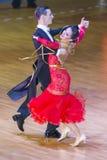 舞蹈夫妇执行WDSF国际WR舞蹈杯的标准欧洲节目 库存图片