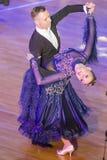 舞蹈夫妇执行WDSF国际WR舞蹈杯的标准欧洲节目 免版税库存图片