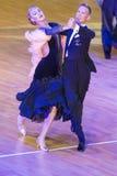 舞蹈夫妇执行WDSF国际WR舞蹈杯的标准欧洲节目 免版税图库摄影