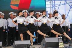 舞蹈家、歌曲合奏的合唱和独奏者黑海海军舰队(塞瓦斯托波尔,克里米亚的表现和舞蹈 图库摄影