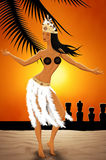 舞蹈家在复活节岛 库存图片