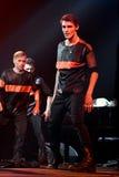 舞蹈家在阶段执行在维克托Drobysh第50个年生日音乐会期间在巴克来中心 免版税库存图片