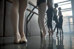 舞蹈家支持芭蕾纬向条花 图库摄影