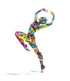 舞蹈家的抽象剪影 免版税库存照片