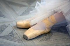舞蹈家的美好的腿pointe的 图库摄影