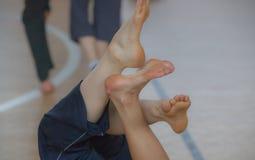 舞蹈家结算,腿 免版税库存照片