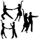 舞蹈拉丁美洲人剪影 皇族释放例证