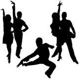舞蹈拉丁美洲人剪影 库存例证
