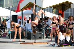 舞蹈杆妇女年轻人 免版税图库摄影