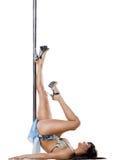 舞蹈杆性感的妇女年轻人 免版税库存照片