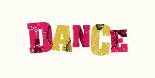舞蹈概念五颜六色的被盖印的词例证 库存照片