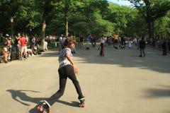 舞蹈溜冰者在中央公园 免版税库存照片