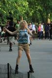 舞蹈溜冰者在中央公园 免版税库存图片
