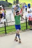 舞蹈溜冰者在中央公园 库存照片