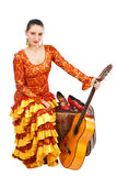 舞蹈演员佛拉明柯舞曲吉他手提箱 免版税库存照片