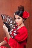 舞蹈演员佛拉明柯舞曲吉普赛女孩红色玫瑰色西班牙 免版税库存照片