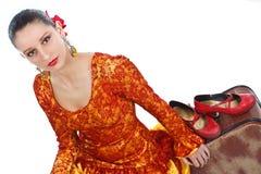 舞蹈演员佛拉明柯舞曲红色鞋子 免版税库存照片