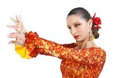 舞蹈演员佛拉明柯舞曲纵向妇女 库存图片