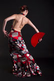 舞蹈演员做移动红色的风扇佛拉明柯&# 免版税库存图片