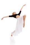 舞蹈演员女孩查出青少年的白色 免版税库存图片