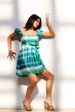 舞蹈演员性感的妇女 背景查出的白色 库存照片