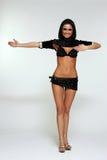 舞蹈演员性感的妇女 背景查出的白色 免版税图库摄影