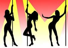 舞蹈演员杆 库存例证