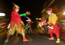 舞蹈演员节日日本被屏蔽的晚上 免版税库存照片