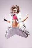 舞蹈演员跳的叫喊的妇女 免版税库存图片